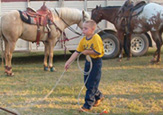 Tanner Chronister is serious when practicing his roping